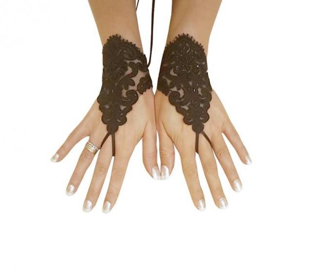 wedding photo - Glove Goth Wedding Gloves, Black Lace gloves, Fingerless Gloves, off cuffs, cuff wedding, bride, bridal gloves, cuffs
