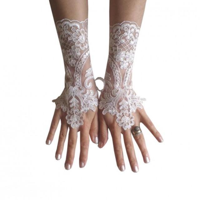 wedding photo - Ivory gloves, cream, frame, wedding bridal lace, fingerless, gauntlets, prom, party, lace wedding gloves, bridal gloves lace, accessories