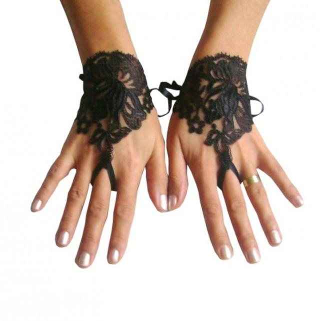 wedding photo - Gothic lace glove, black cuffs, wristlets lace, steampunk, gothic wedding, bridesmaid gift, bridal shower, beach party, prom party,
