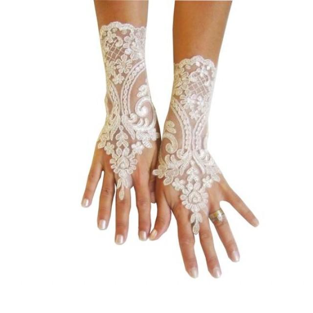 wedding photo - 9 color Wedding gloves bridal lace gloves guantes french lace gloves, prom, celebration, engagement , handmade gift,