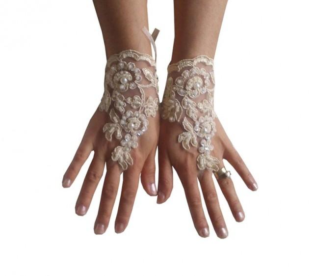 wedding photo - cappuccino Wedding gloves beaded pearl bridal gloves fingerless lace gloves cappuccino gloves french