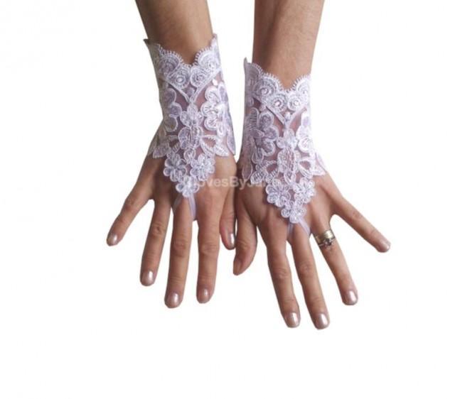 wedding photo - White Wedding gloves, bridal gloves, lace gloves, fingerless gloves, french lace gloves, snow white, bridal accessories, wedding shower