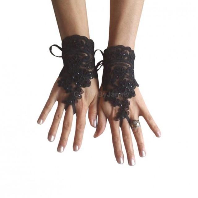wedding photo - Glove Goth Gloves, Black gloves, Fingerless Gloves,lace gloves, beaded gloves, gothic wristlets, burlesque, unique, lace gloves black,