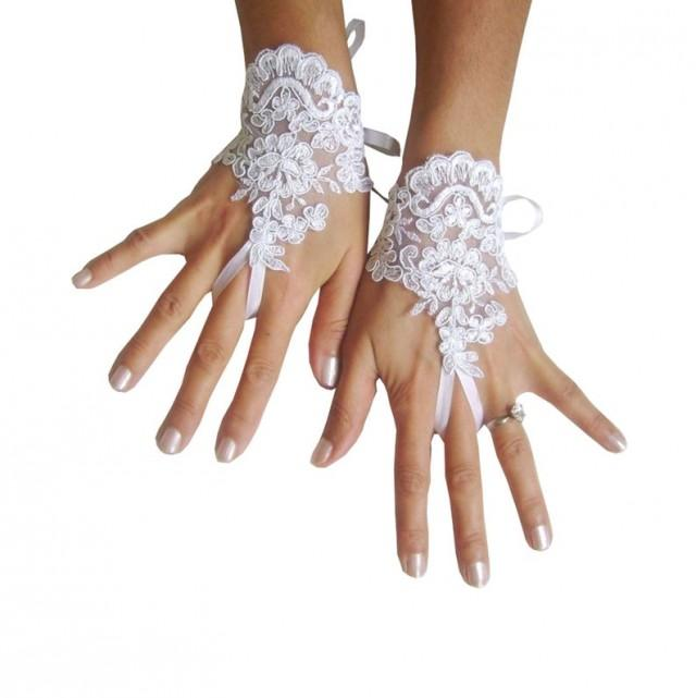 wedding photo - White Wedding gloves, bridal lace fingerless, french lace, cuff, gauntlets, fingerloop, snow white, glove lace, embroidery gloves, party