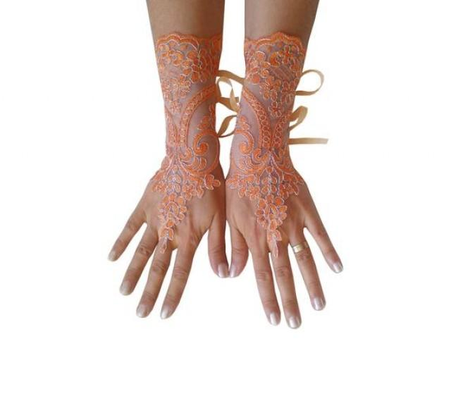 wedding photo - Halloween costume, lace gloves, orange, silver frame, bridal cuff, fingerless, lace gauntlets, guantes, french lace, costume accessories,