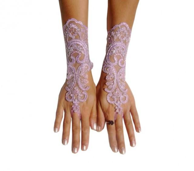 wedding photo - Lavender gloves lilac bridal gloves light purple fingerless lace gloves french lace silver frame, bridesmaid dresses, glove