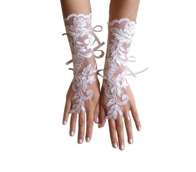 wedding photo - Long Ivory Wedding gloves, bridal gloves, lace gloves, fingerless gloves, ivory gloves, french lace gloves, long lace glove, lace mittens,