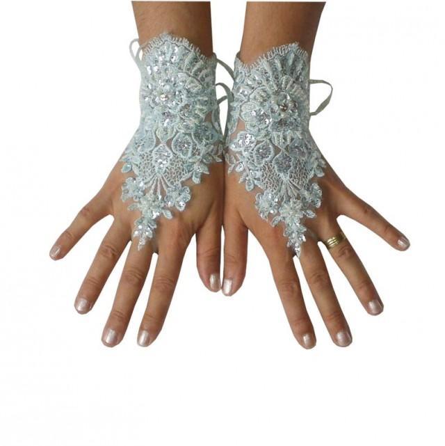 wedding photo - Aqua Blue, beaded Wedding gloves, bridal lace gloves, fingerless gloves, something blue, french lace, birdesmaid gift, gauntlets, guantes