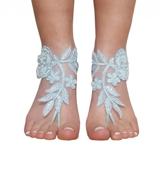 wedding photo - Aqua blue beach wedding barefoot sandals, bridal shoes, bridesmaid gift, beac wedding, lace bangle, lace ankle, beaded barefoot sandal