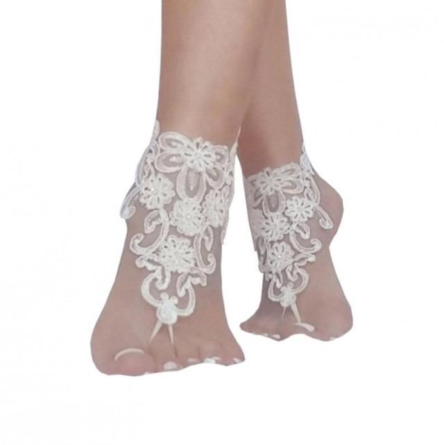wedding photo - ivory 3D flower wedding barefoot sandals wedding prom party bangle beach anklets bangles bridal bride bridesmaid