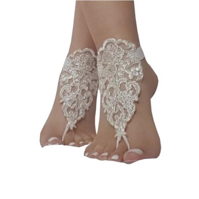 wedding photo - bridal beach wedding barefoot sandals, bangle, ivory silver beach wedding barefoot sandals, wedding bangles, anklets, bridal