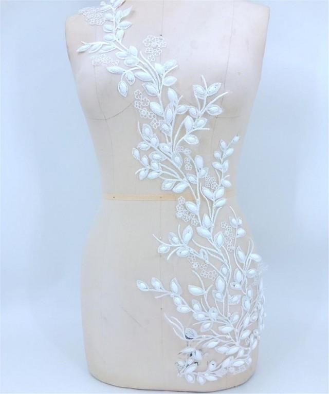 wedding photo - White Beading Appliques Leaves Beaded Vines Costumes Appliques Rhinestone Embellished Sewing for Party Ballgown Evening Dress