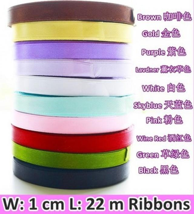 wedding photo - 1cm width Color Ribbons DIY party packaging materials HH040