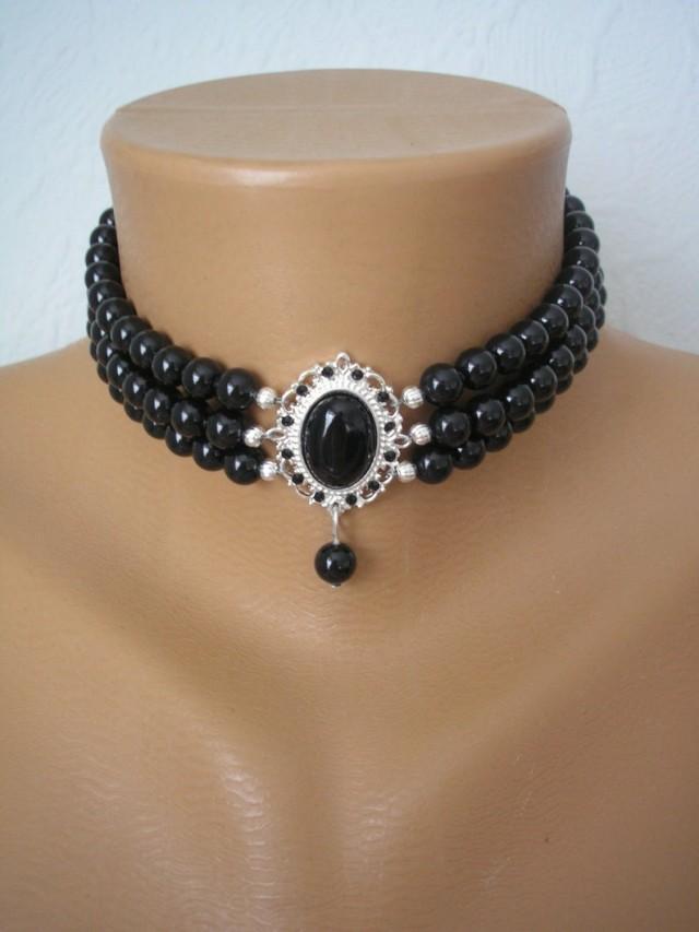 wedding photo - Black Pearl Choker, Swarovski Mystic Black Pearls, Onyx, Indian Choker Necklace, Downton Abbey, Pearl Bridal Necklace, Black Jewelry