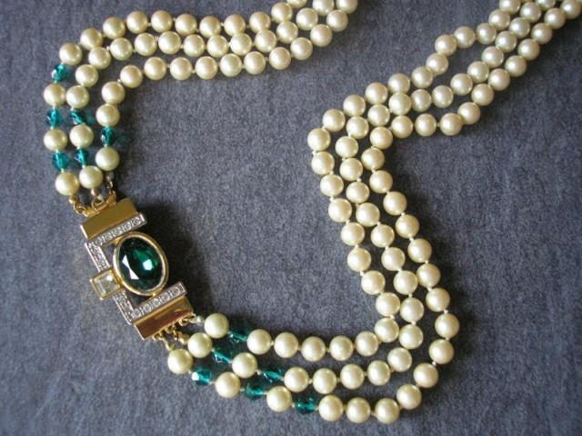 wedding photo - Vintage Long Pearl Necklace, Indian Bridal Necklace, 3 Strand Pearls, Pearl And Emerald, Downton Abbey, Backdrop, Flapper, Art Deco Style