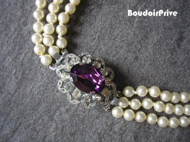 wedding photo - Amethyst And Pearl Necklace, Bridal Pearls, Vintage Pearls, Long Pearl Necklace, Purple Backdrop Necklace, Gatsby, Ivory, Art Deco Wedding