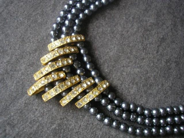 wedding photo - Vintage Black Pearl Necklace, Three Strand Pearls, Triple Row Pearls, Downton Abbey, Art Deco Style, Pearl And Rhinestone, Great Gatsby