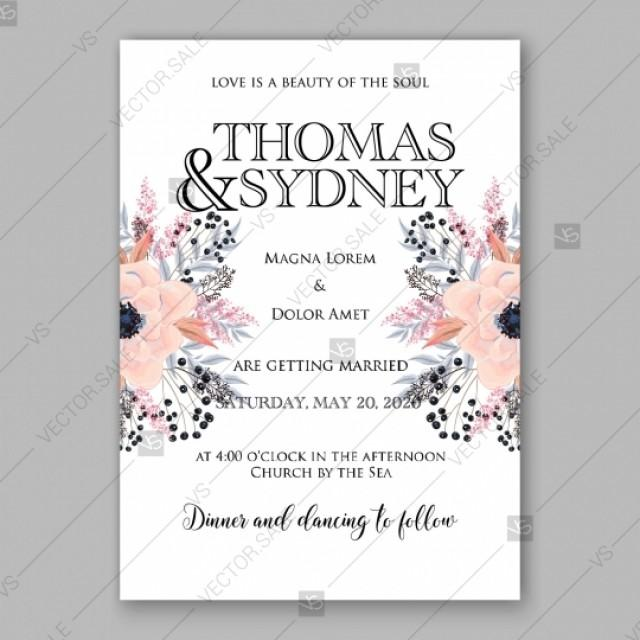 wedding photo - Gentle anemone wedding invitation card printable template greeting card