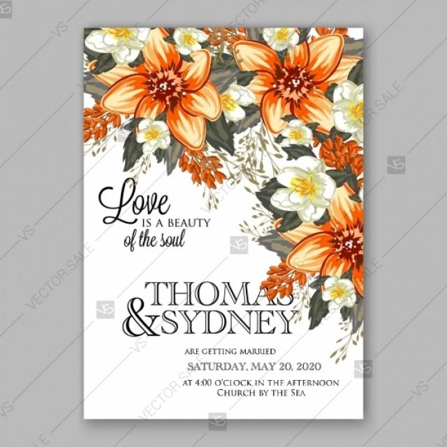 wedding photo - Orange peony wedding invitation template