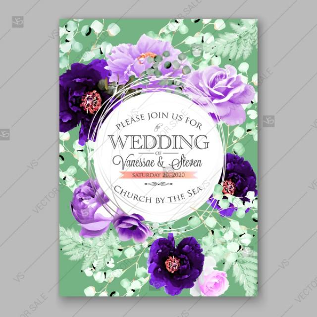 wedding photo - Violet peony, purple ranunculus, anemone rose fern eucalyptus floral wedding invitation vector card template beautiful bouquet