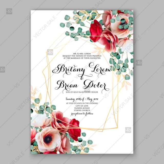 wedding photo - Red pink anemone eucalyptus Wedding invitation vector template watercolor peony rose flowers party