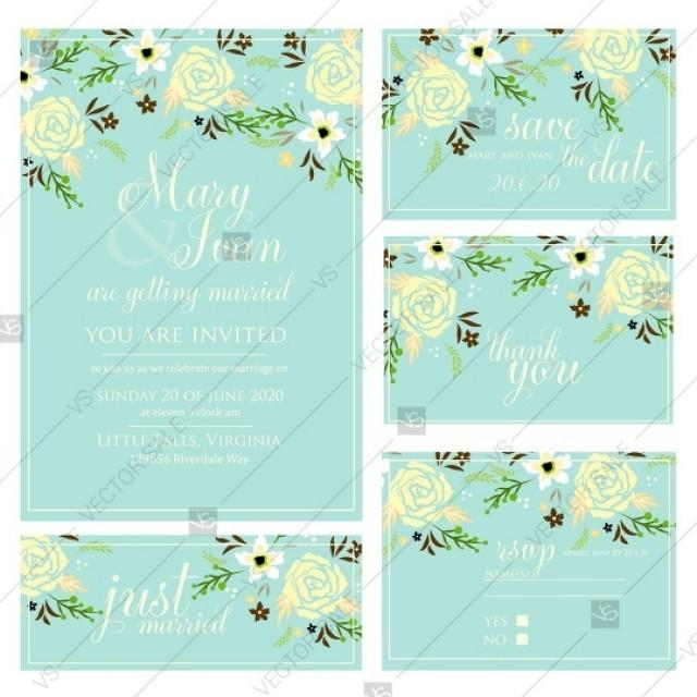 wedding photo - Wedding invitations with rose, peony and anemone flowers. Save the date, rsvp, thank you card