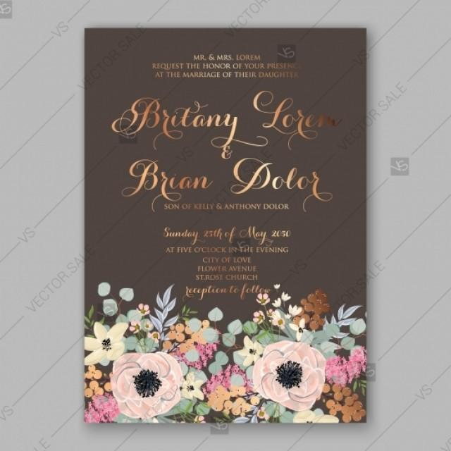 wedding photo - Anemone wedding invitation card printable template floral illustration