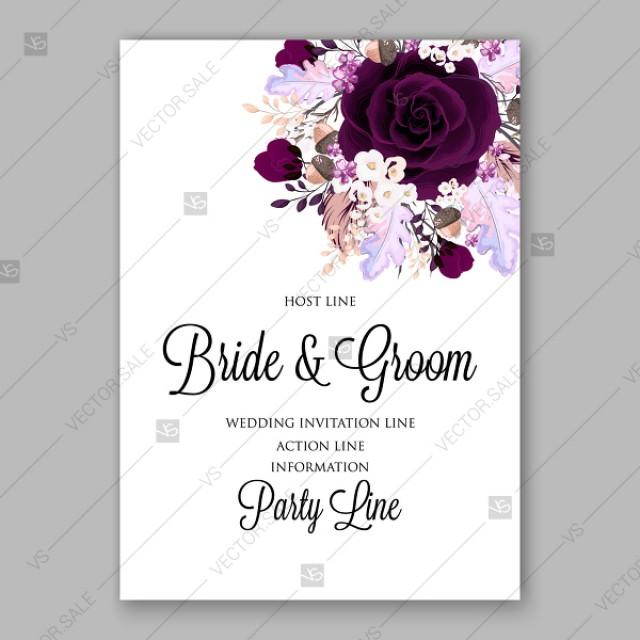 wedding photo - Marsala dark red peony wedding invitation vector floral background floral greeting card
