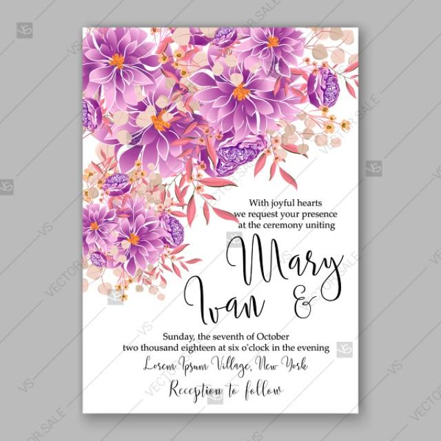 wedding photo - Violet Chrysanthemum peony dahlia Greeting card with flowers, watercolor invitation card for wedding floral background