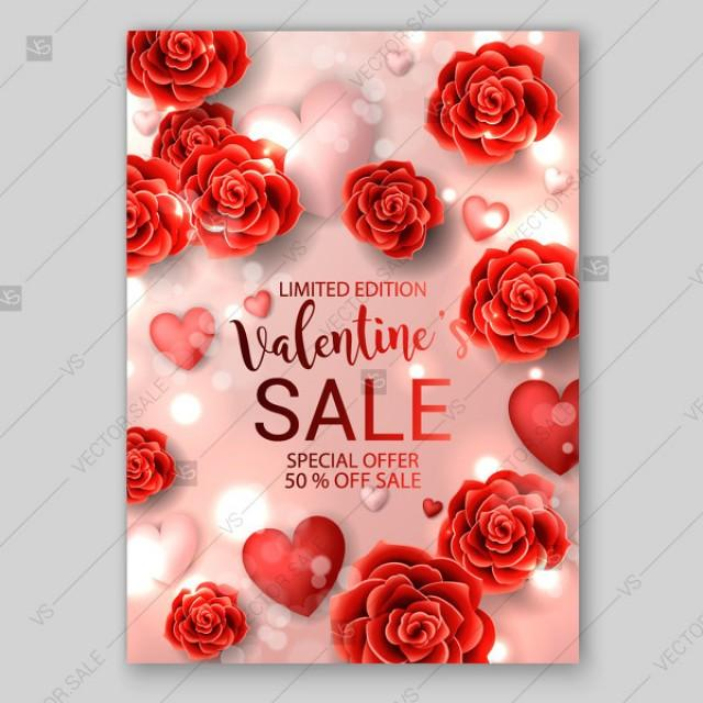 wedding photo - Valentine's day card Sales poster banner red paper rose and soft hearts