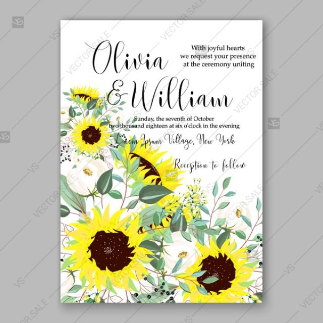 wedding photo - Bright lemon yellow sunflower wedding invitation country stile greeting card