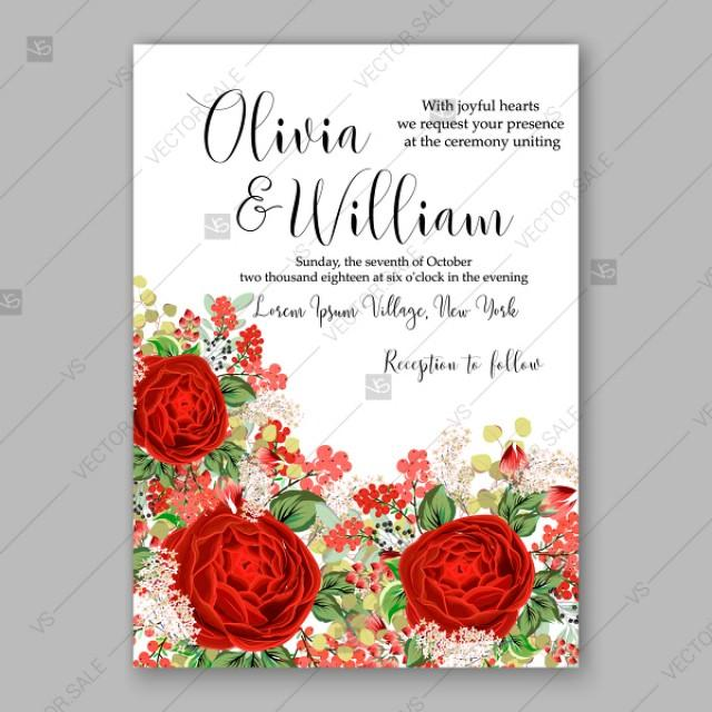 wedding photo - Red rose wedding invitation vector floral background autumn