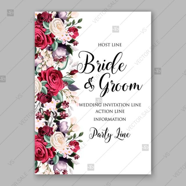 wedding photo - Marsala Burgundy white rose peony greenery wedding invitation vector template bridal shower invitation