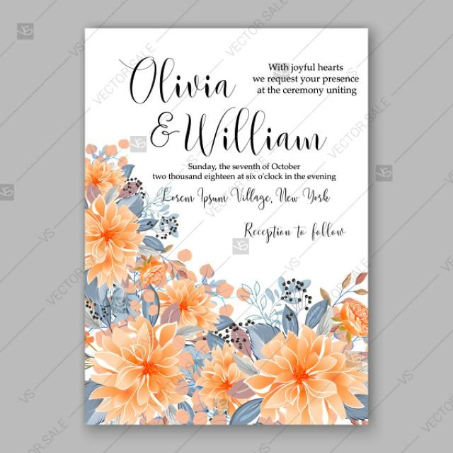 wedding photo - Peach orange chrysanthemum asters peony sunflower autumn wedding invitation vector template autumn