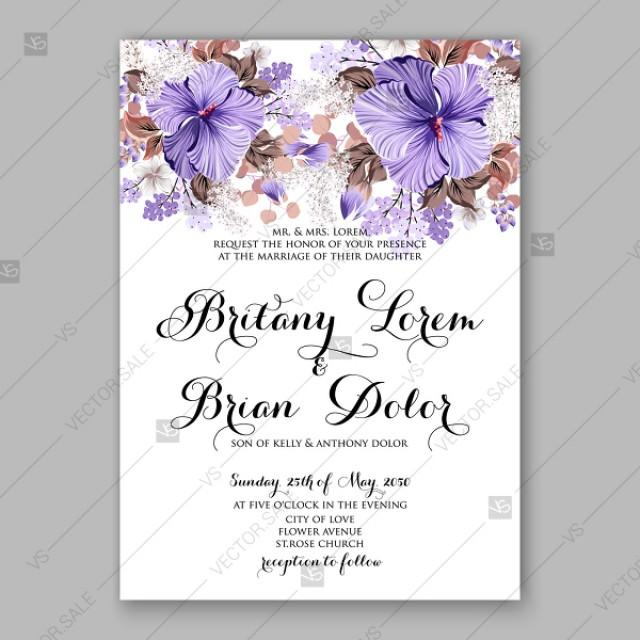 wedding photo - Violet Hibiscus wedding invitation vector tropical flower template aloha luau