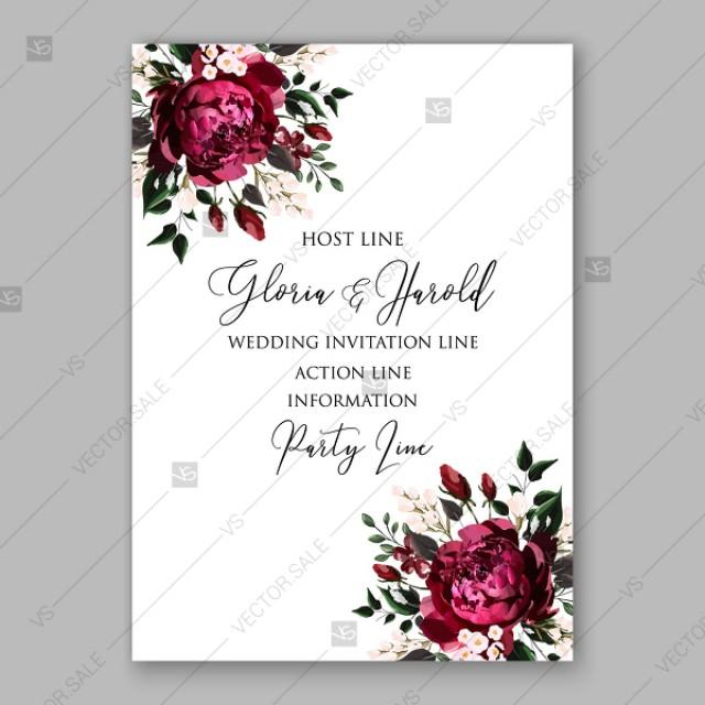 wedding photo - Burgundy Dark red Peony wedding invitation watercolor vector template valentines day