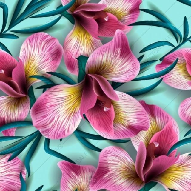 wedding photo - Iris Orchid Alstroemeria seamless pattern