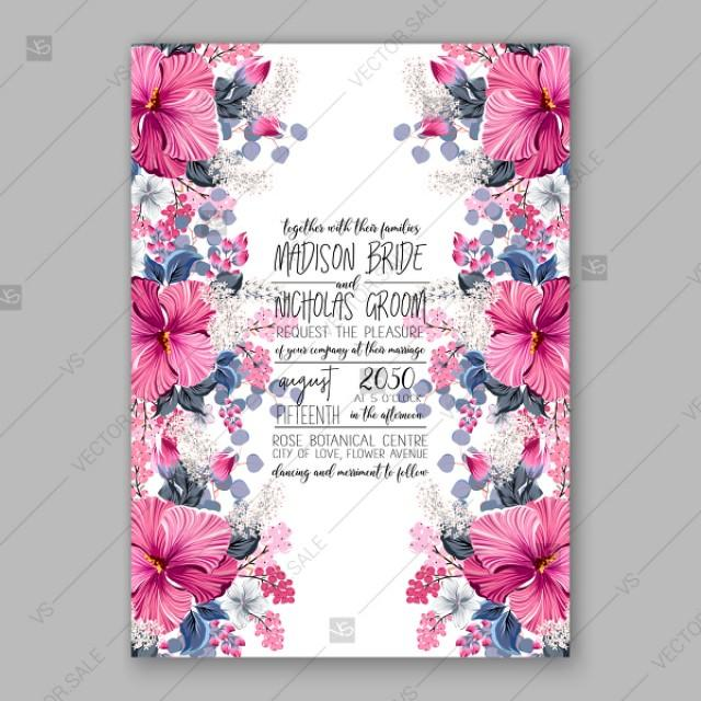 wedding photo - Tropical pink hibiscus lilac wedding invitation vector card template custom invitation