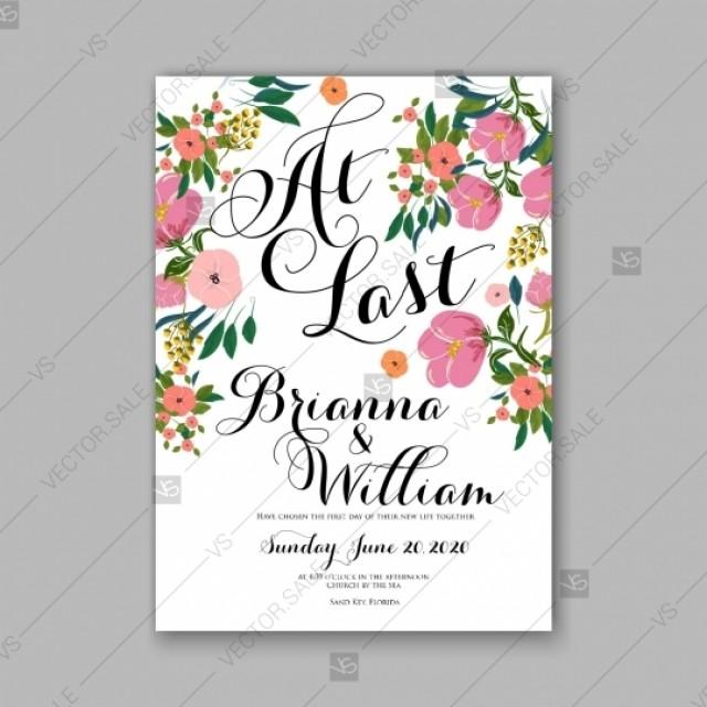 wedding photo - Pink peony wedding invitation vector template card