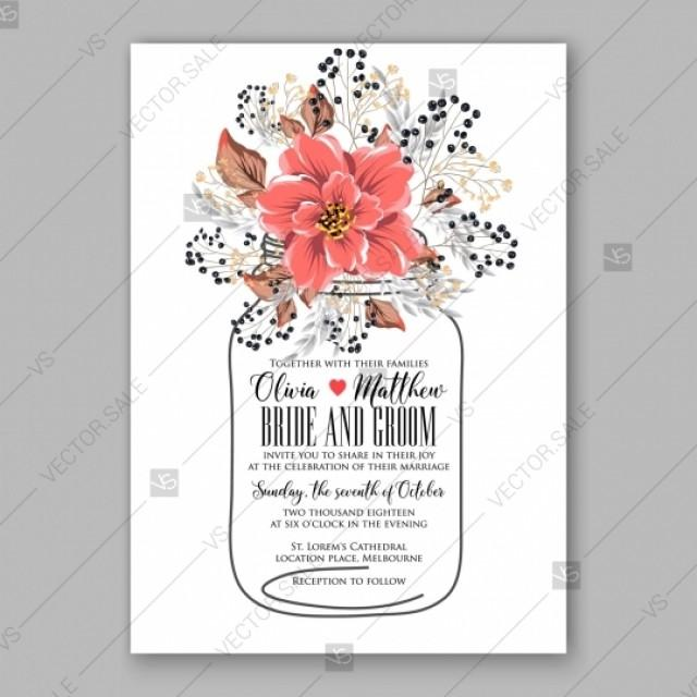 wedding photo - Poinsettia, anemone wedding invitation floral template