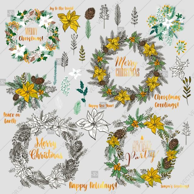 wedding photo - Christmas holiday vector clipart floral elements poinsettia fir pine branch cone berry thank you card