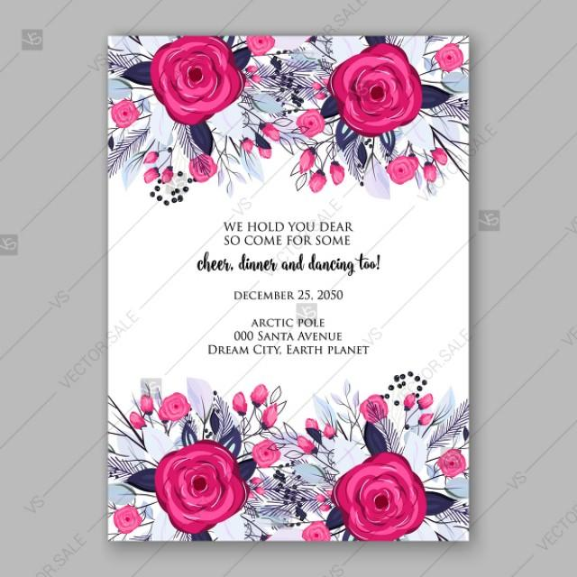 wedding photo - Merry Christmas Party invitation pink magenta rose blue needle greenery fir vector template thank you card