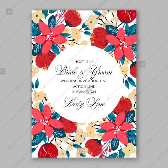 wedding photo - Red cream Peony Poinsettia wedding invitation printable template vector card