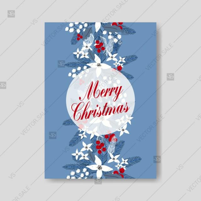 wedding photo - White poinsettia christmas party invitation on blue background floral design
