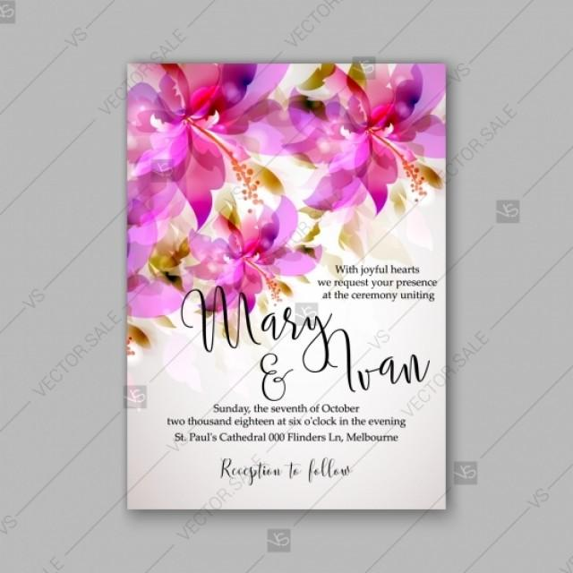 wedding photo - Romantic pink hibiscus peony bouquet bride wedding invitation template design