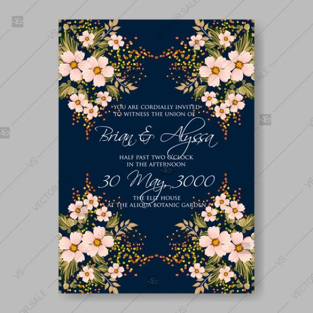 wedding photo - Wedding invitation small creme vector rustic flowers cherry, sakura Japanese style birthday card