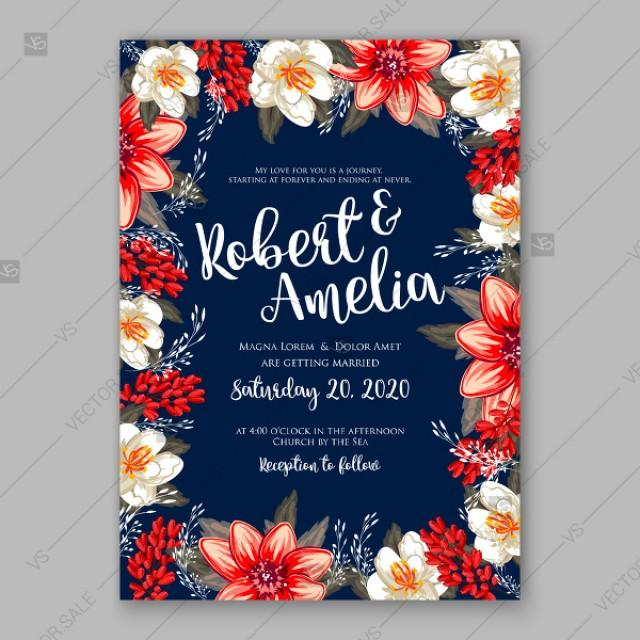 wedding photo - Winter poinsettia wedding bridal shower invitations invitation template