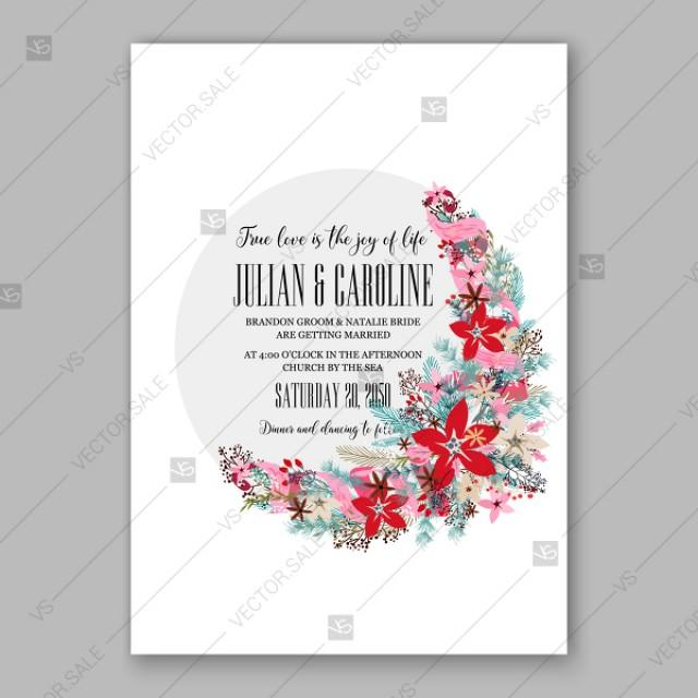 wedding photo - Poinsettia Wedding Invitation floral ornament Christmas Party wreath poinsettia pine branch fir tree spring