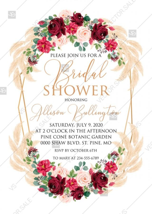 wedding photo - Bridal shower invitation Marsala peony rose pampas grass pdf custom online editor 5x7