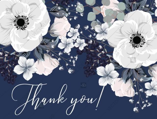 wedding photo - Thank you card white anemone flower card template on navy blue background PDF 5.6x4.25 in online maker